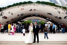 """Another wedding photo idea at the """"bean"""" in Millennium Park"""