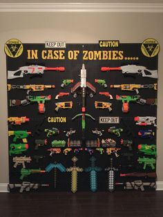 gamer room So many nerf guns--so little time! So here are loads of fun ideas on nerf gun storage so you can get them off the floor and organized! Nerf Gun Storage, Deco Gamer, Gamer Room, Ideas Hogar, Toy Rooms, Kids Playing, Zombies, Storage Ideas, Wall Storage