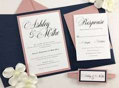 Beautiful Romantic Navy Blue and Mauve Pink Pocket Wedding