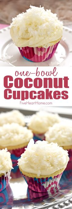 One-Bowl Coconut Cupcakes ~  these easy-to-make cupcakes are extremely moist (thanks to coconut milk) and topped with tangy cream cheese frosting and sweetened coconut flakes   FiveHeartHome.com