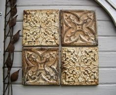 ALL 4 Antique Ceiling Tin Tiles. Circa 1900.  by DriveInService, $100.00