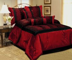 red and black bed set | New Leopard Black Red Comforter Set Flock Satin Bedding Queen King and ...
