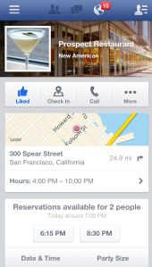 Facebook Makes Mobile Pages More Functional With OpenTable Reservations And Rovi TV Guide Info