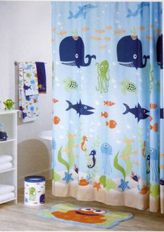 Jumping Beans Fish Tales Shower Curtain And Bathroom Accessories
