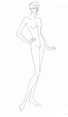 Dress Design Sketches, Body Sketches, Fashion Model Sketch, Fashion Sketches, Fashion Art, Fashion Models, Fashion Design, Body Template, Fashion Mannequin