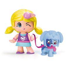 Surtido de dos sets de figuras Pinypon paseando su mascota; perro o gato. Tanto la figura como la mascota tienen pelos, caras y cuerpos intercambiables. El pack incluye 2 figuras y muchos pequeños accesorios.