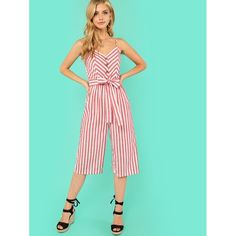 696a30122e0 Button Accent Wide Leg Belted Cami Jumpsuit Red. Anabella s