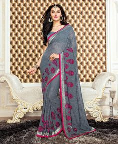 Gray Georgette Saree With Blouse 78698