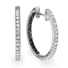 1.15 Carat (ctw) Sterling Silver Black and White Round Diamond Ladies Hoop Earrings DazzlingRock Collection. $189.00. Crafted in 925 Sterling Silver. Black diamonds are enhanced for color. Diamond Weight : 1.15 ct tw.. Diamond Color / Clarity : I-J / I2-I3. Weighs approximately 5.40 grams
