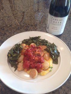 Smoked scallops, braised greens, cheddar jalapeño grits. Sunday, 8/24/14