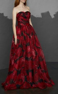 Ruby and Black Printed Mesh Organza Gown by Pamella Roland Pre-Fall 2018