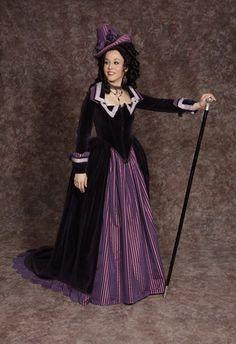 $40.00 Costume Rental  Marguerite Riddle  plum velvet bodice, purple striped skirt & details