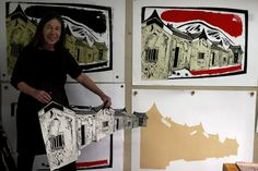 Merlyn Chesterman showing her work. She will be hosting a workshop at Fusion. Printmaking, Workshop, Articles, Places, Fabric, Projects, Painting, Inspiration, Tejido