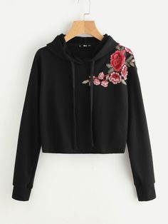 Embroidered Flower Patch Raw Hem Hoodie -SheIn(Sheinside)