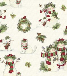 Holiday Inspirations Fabric-Susan Winget Snowmen
