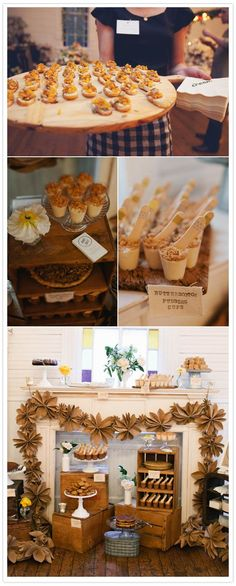 love the bare wood serving, the bite sized morsels and the swagged folded paper pinwheels over the entryway. Celebration and party food