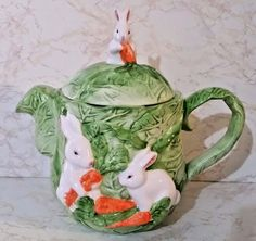 """White Bunnies W/Carrots on Cabbage Teapot - Home Trends """"Springtime"""" - NW/OB"""