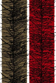 Lucienne Day; Screen-Printed Linen 'Larch' Fabric for Heal's, 1965.