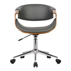 Geneva Mid-Century Office Chair in Chrome finish with Gray Faux Leather and Walnut Veneer Arms - Armen Living, Gray Brown Modern Desk Chair, Modern Office Desk, Black Office Chair, Modern Chairs, Desk Chairs, Office Chairs, Desk Office, Modern Furniture, Vanity Chairs