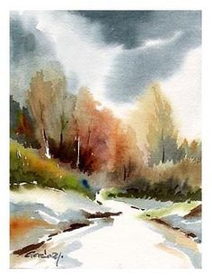 40 Examples of Watercolor Paintings Watercolor Paintings For Beginners, Watercolor Projects, Watercolor Landscape Paintings, Watercolor Trees, Easy Watercolor, Landscape Prints, Watercolor Techniques, Abstract Watercolor, Watercolor Illustration