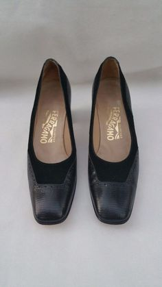 e33411602197 Salvatore Ferragamo Black Leather w  Suede Women Size 8 AAAA   SalvatoreFerragamo  PumpsClassics