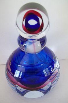 Beautiful Murano style Cut Art Glass Perfume Cologne Bottle Blue Stripe