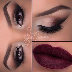 Neutral eye and bold burgundy lip