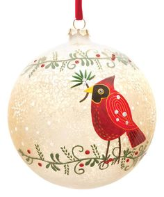Loving this Cardinal Glass Ball Ornament on #zulily! #zulilyfinds