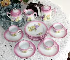 Antique Victorian Children's Toy Violets & Roses Tea Set