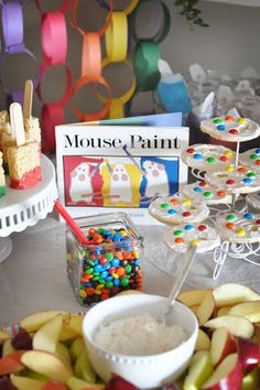 Heath Bars & Reese's Cups: Paint Party Details rice crispie treats as paint brushes,,love it! could use those when you feed a crew who has helped you paint your house!