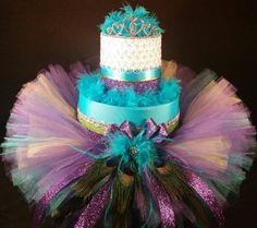 2 Tier Purple and Teal Peacock DIAPER CAKE w/ tutu skirt | gold tiara  | Tiersofjoy -  on ArtFire