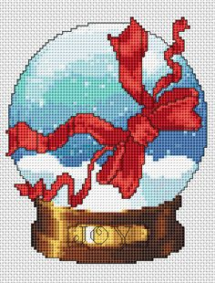 Snow globe with a red ribbon.A beautiful cross stitch pattern to decorate the home and celebrate Christmas. Xmas Cross Stitch, Cross Stitch Kits, Counted Cross Stitch Patterns, Cross Stitch Designs, Cross Stitching, Cross Stitch Embroidery, Free Cross Stitch Charts, Theme Noel, Crochet Cross