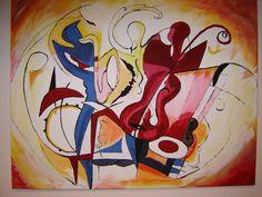 acryl painting ,music, own creation   100x80 te koop 90€