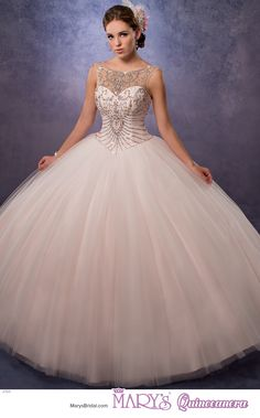 Beloving style 4769 • Tulle quinceanera ball gown with beaded bodice that has an illusion bateau neckline, basque waist line, lace-up back, and sheer bolero.