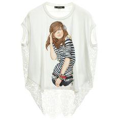 Monnalisa Girls White T-Shirt with Lace Back at Childrensalon.com