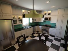 ART DECO KITCHENS | Lively Yellow (left) for walls, Larchmere (top) for accent wall and ...