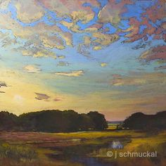 Mission Arts and Crafts CRAFTSMAN Wetland Sunset - Giclee Art PRINT of Original Landscape Painting matted 12x12 by Jan Schmuckal