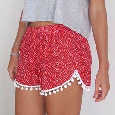 Boho Floral Print High Waist Pom Pom Tassel Shorts