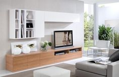 Luxury Modern Living Room Tv Wall Unit In Cream White With Grey Walls And Grey Sofa Set Plus Grey Rug Together With White Floor And Also Green Plants Decor In Nice Living Room. Luxury Look Of Wall Units In Modern Homes Living Room Tv, Living Room Modern, Home And Living, Living Room Designs, Cabinets For Living Room, Tv Wall Ideas Living Room, Condo Living, Tv Furniture, Living Room Furniture