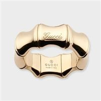 Gucci Yellow Gold Bamboo Ring with Logo 246462J85008000