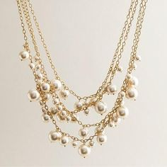 Pearls and gold chain necklace