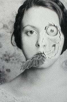A Sampling - Framed Original Surreal Art Mixed Media Photo Creepy Portrait Face Skull Bone Teeth Paper Black & White Gray Dark Wall Decor Distortion Photography, Fine Art Photography, Portrait Photography, Portraits, Portrait Art, 3 4 Face, Creepy Photos, Photo Class, Photocollage