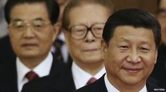 President Xi Jinping, right, with retired leaders Jiang Zemin, centre, and Hu Jintao