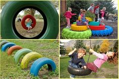 Charming DIY Ideas How to Reuse Old Tires diy playground ideas Kids Outdoor Play, Kids Play Area, Backyard For Kids, Diy For Kids, Backyard Ideas, Tyre Ideas For Kids, Play Areas, Outdoor Toys, Tire Garden