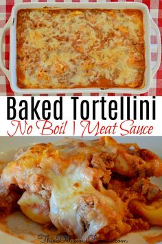 The BEST Tortellini Casserole with no boil tortellini noodles. Creamy and delicious baked pasta recipe that is done in minutes! #bakedtortellini #tortellinicasserole Frozen Tortellini Recipe, Tortellini Bake, Tortellini Recipes, Baked Pasta Recipes, Easy Crowd Meals, Make Ahead Meals, Easy Meals, Barbecue Recipes, Grilling Recipes