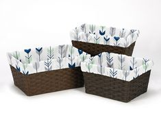 Mod Arrow Grey, Navy and Mint Collection Basket Liner (3P-Liner-ModArrow-GY-MT)