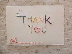 あなただけの一点もの?!刺繍メッセージカード ♥『THANK YOU 』 by keiko ishibashi 文房具・ステーショナリー ペーパークラフト