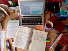 "situatedknowledges: ""3.4.15 - 14.46 // working on research papers always makes my study space a big mess, with pens and sticky notes scattered all over my desk and piles of books surrounding me. I'm a..."