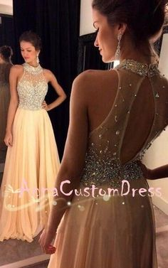 Halter Light Champagne Chiffon Long Prom Dress 2018 Plus Size #longpromdresses