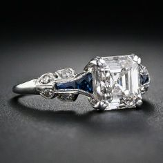1.75 Carat Asscher-Cut Diamond Art Deco Ring at 1stdibs